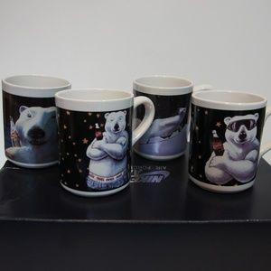 VTG Coca Cola Set of 4 Polar Bear Mugs 1996 GUC